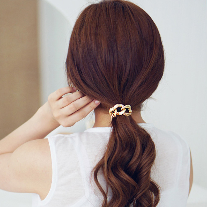 Korean Hair Accessories Hair Tie Scrunchy Metal Chain Boho Turban Headband Headwear Rubber Bands Women Girls Elastic Hairband