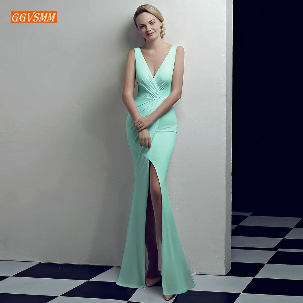 Sexy Mint Slim Fit   Prom     Dresses   Long 2019 Mermaid Formal   Dress     Prom   Ever Pretty V-Neck Spandex Side Slit Banquet Evening Gowns