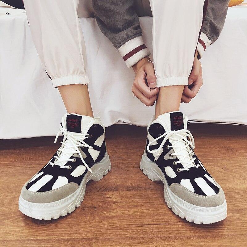 Chaussures Hommes Moto De D'hiver Formateurs Chaud Cheville White Sneakers Mens Papa black black Beige Bottes Casual Nouveau Chunky Boot rY84r