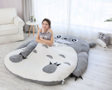 Brand new 1.5x2m My Neighbor Totoro Tatami Sleeping Double Bed Beanbag Sofa For Audlt Warm Cartoon Tatami Sleeping Bag Mattress japanese anime gray my neighbor totoro plush bed 210cm x 170cm stuffed totoro sleeping bag cute tatami sofa
