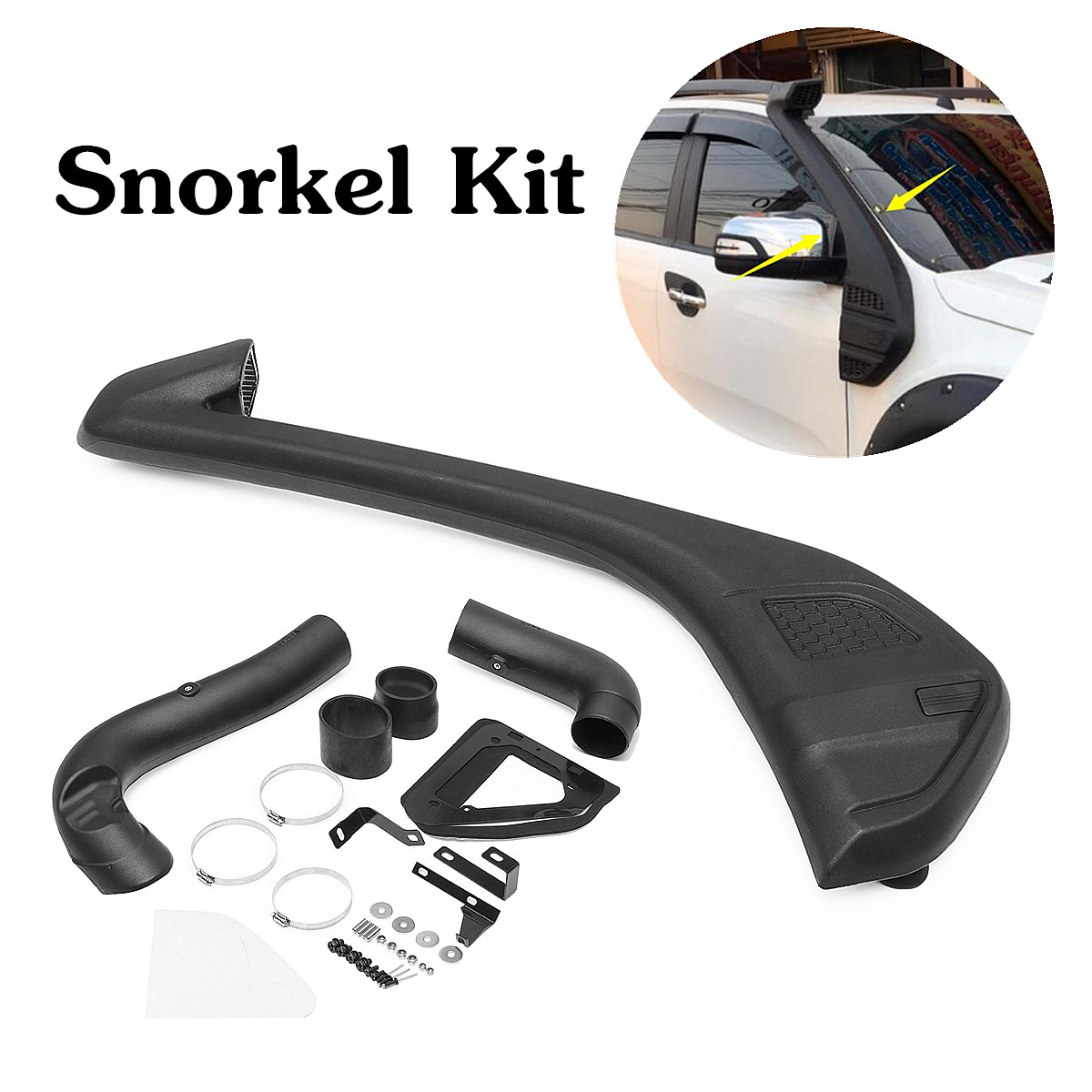 Air Raise Intake Snorkel Petrol Diesel-Kit Set For 2013 Ford-Ranger T6 Wildtrak 110x30cm Polyethylene Black UV Resistant Linear