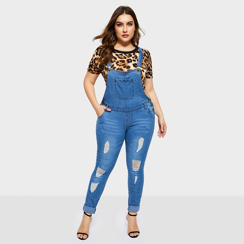 Women   Jumpsuits   Casual Office Lady Spring 2019 Slim Denim Hole Suspenders Solid Plus Size Female Fashion Pencil Pants Rompers