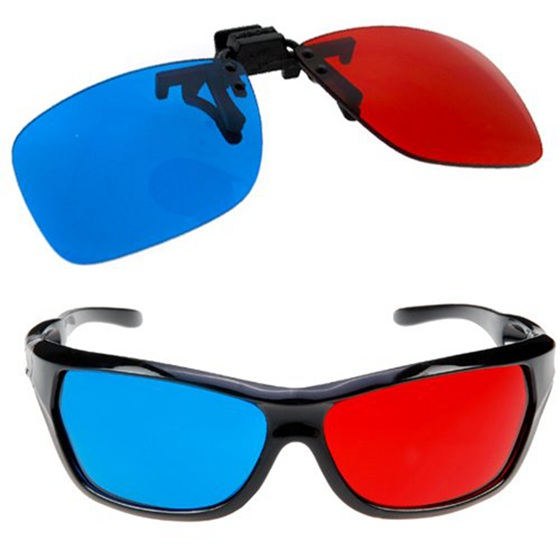 2x Red and Cyan Glasses Fits over Most Prescription Glasses for 3D Movies, Gaming and TV (1x Clip On ; 1x Anaglyph style)