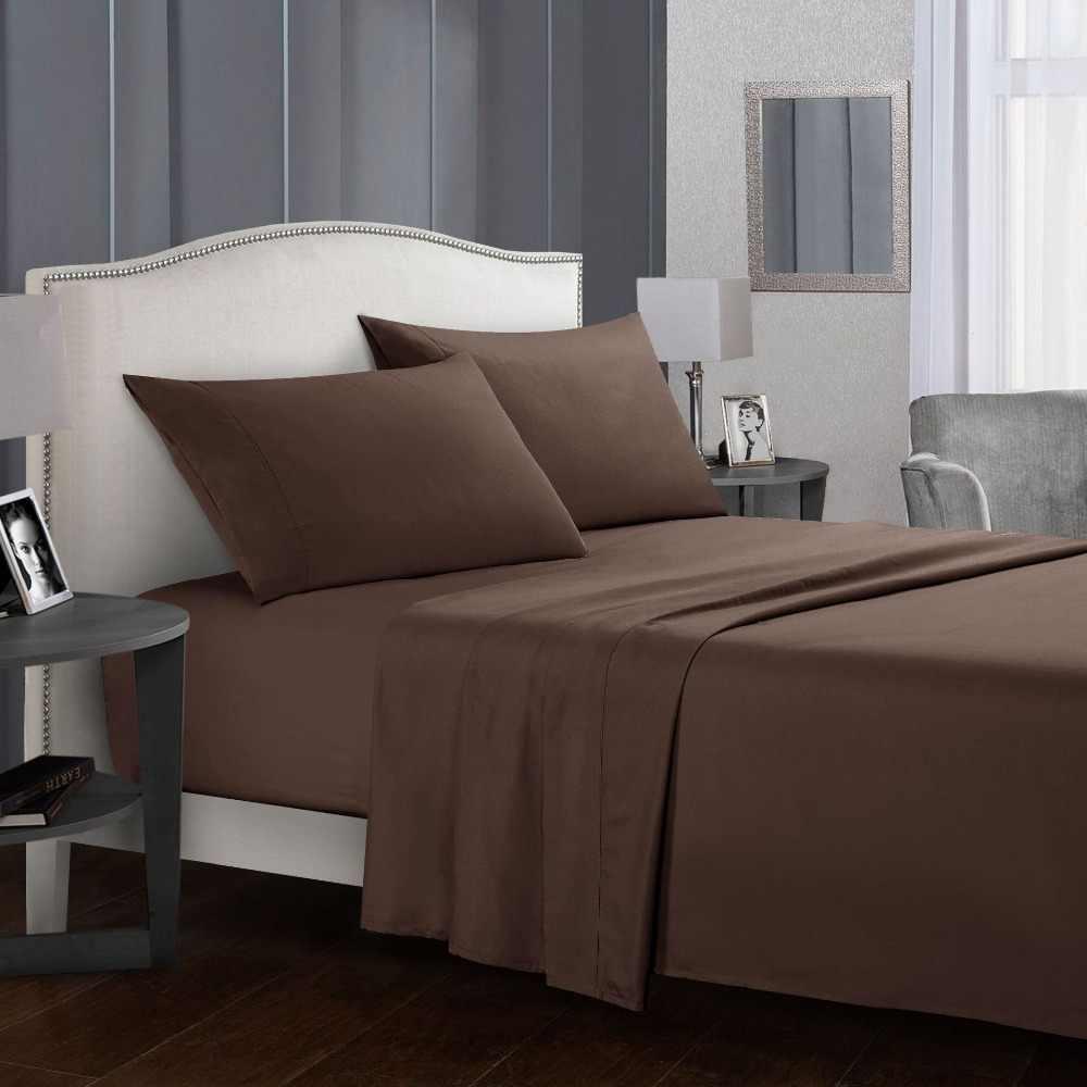 Pościel ustawić krótki pościel płaski prześcieradło z poszewki na poduszkę królowej King Size dla łóżko pojedyncze szary miękkie wygodne białe łóżko