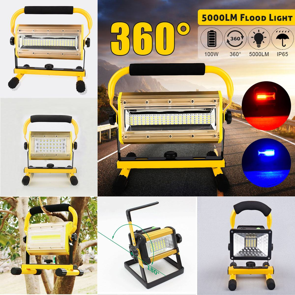 Rechargeable Projecteur 30 W/50 W/100 W 36 lampe à led Portable 2400LM Spotlight Flood Spot Light Work
