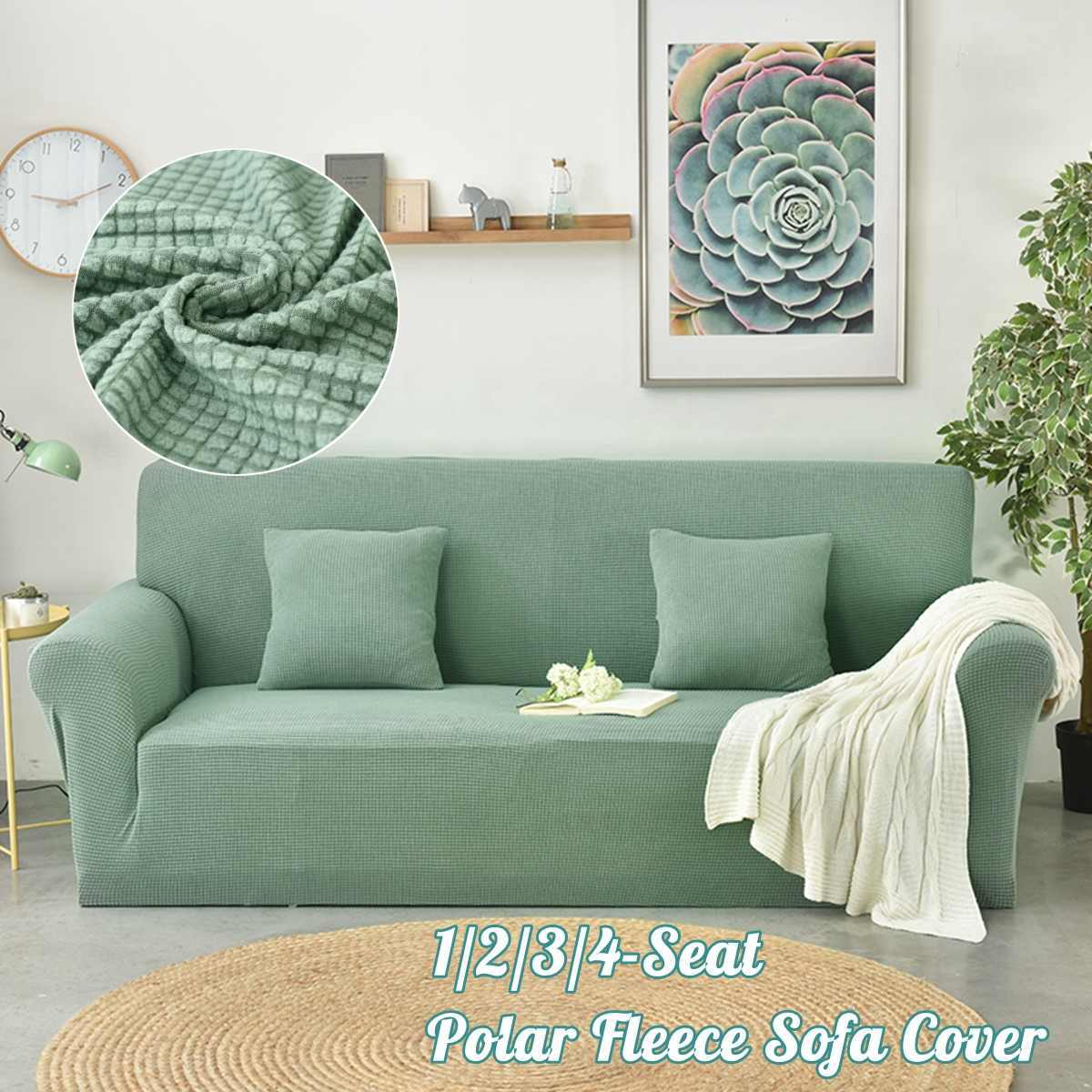 Polar Fleece Slipcover Sofa Solid Color Couch Cover Elastic full sofa Cover 1/2/3/4 seater Stretch Pillow Case Chair Covers Pine
