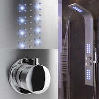 Łazienka kran LED wodospad opady deszczu prysznic zestaw słuchawkowy termostatyczny masaż całego ciała kolumna kran z uchwytem Spray z kranu HWC