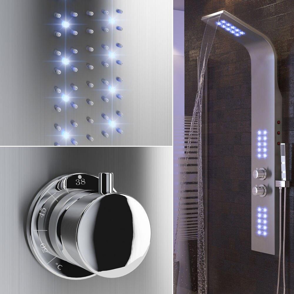 Robinet de salle de bain lumière LED cascade pluie pomme de douche ensemble thermostatique corps colonne de Massage robinet avec poignée robinet de pulvérisation HWC