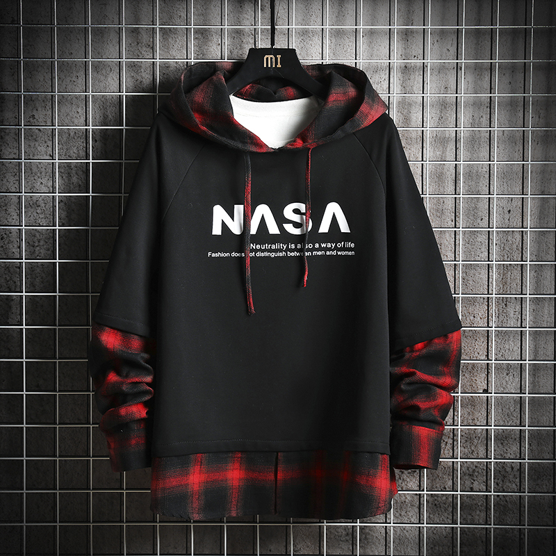 Wind Lattice Split Joint Lovers Neutral Even Midnight Men Trend Loose Streetwear Harajuku Coat Hip Hop Hoodies Free Shipping in Hoodies amp Sweatshirts from Men 39 s Clothing