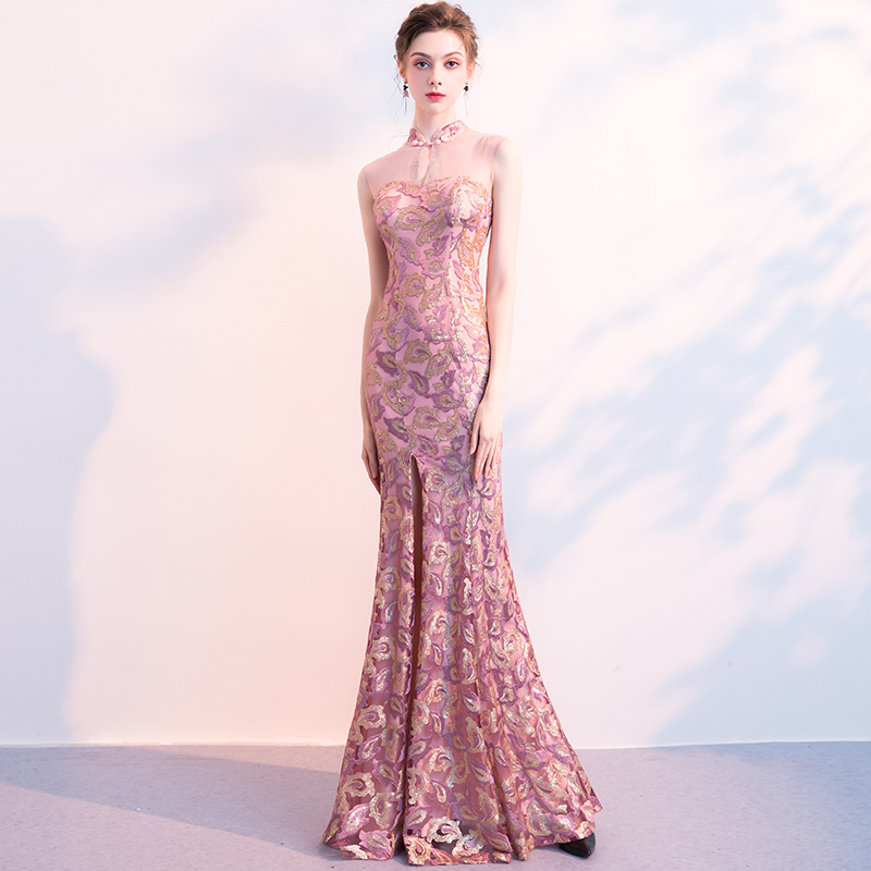 Long Qipao Evening Dresses Woman Sleeveless Transparent Backless China Improve Cheongsam Banquet Violet Paillette FishTail Dress