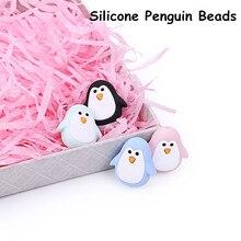 Chengkai 50 sztuk silikonowe Penguin gryzak koraliki DIY zwierząt Baby Shower ząbkowanie Montessori sensoryczna Cartoon biżuteria akcesoria do zabawek