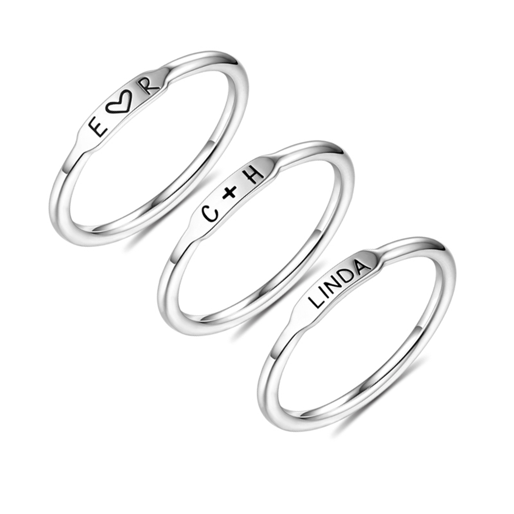 Sweey Wholesale Jewelry Manufactory Silver/Gold/Rose Gold Customized Initial Women Ring Stackable Bar Rings Gift Valentines Gift