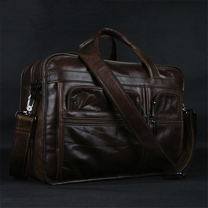 Luxury Genuine Leather Men's Briefcase Business Bag Leather Laptop Bag 15.4