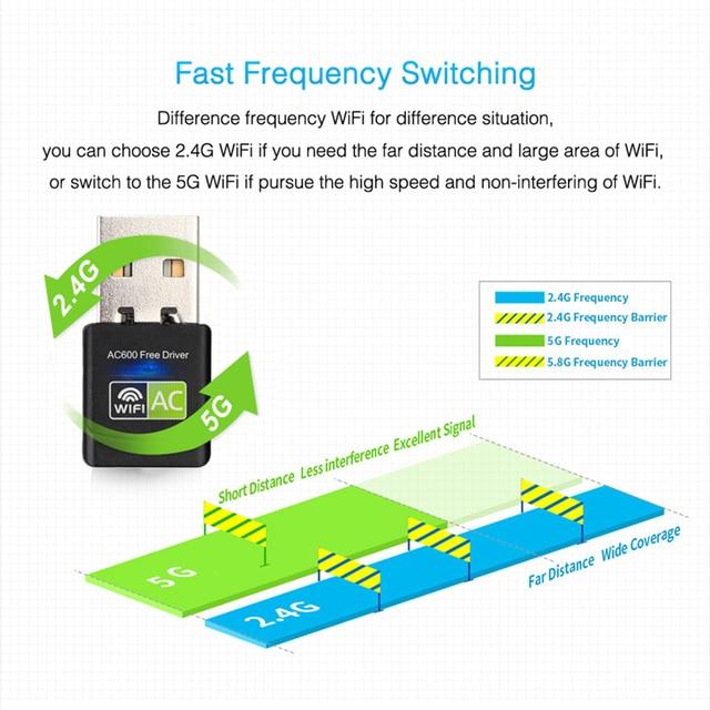 USB WiFi Adapter USB Ethernet WiFi Dongle 600Mbps 5Ghz Lan USB Wi-Fi Adapter PC Antena Wi Fi Receiver AC Wireless Network Card 4