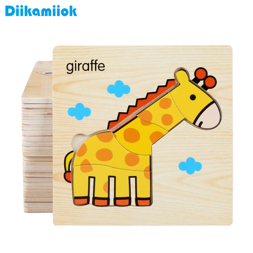 2018 New 58 Style 3D Wooden Puzzle Kids Educational Learning Toys Games For Children Animals Vegetable Traffic Puzzles DK-M200