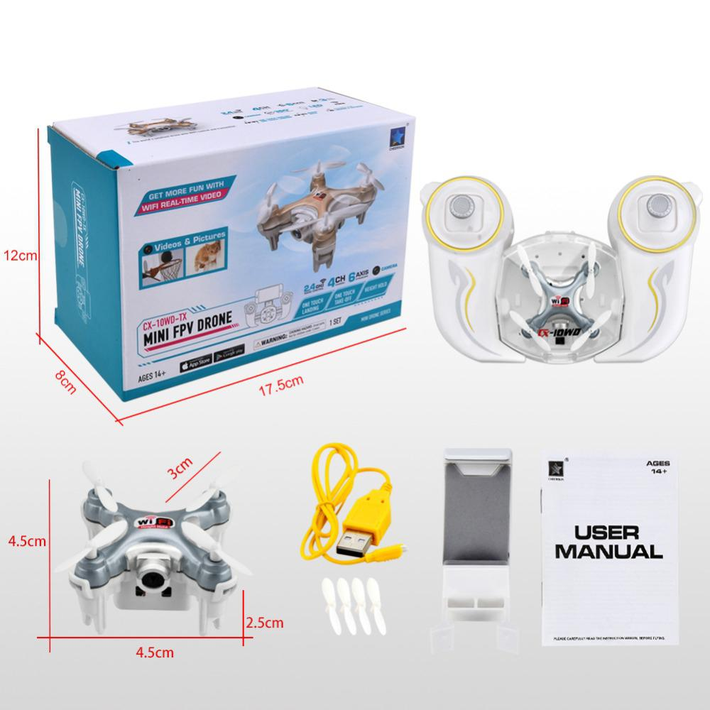 Cheerson CX-10WD-TX 2.4GHz 4CH 6-axis Wifi FPV Quadcopter 3D Eversion Mini Drone With 0.3MP Camera RC 3