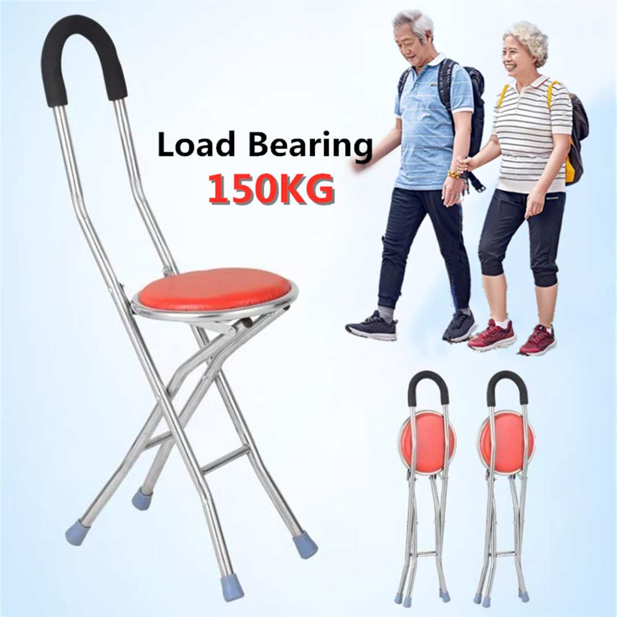 Foldable Elderly Care Walking Cane Stick 2 In 1 Chair Four Legs Up To 150 KG Adjustable Cane Chair Stool Seat Portable Crutch