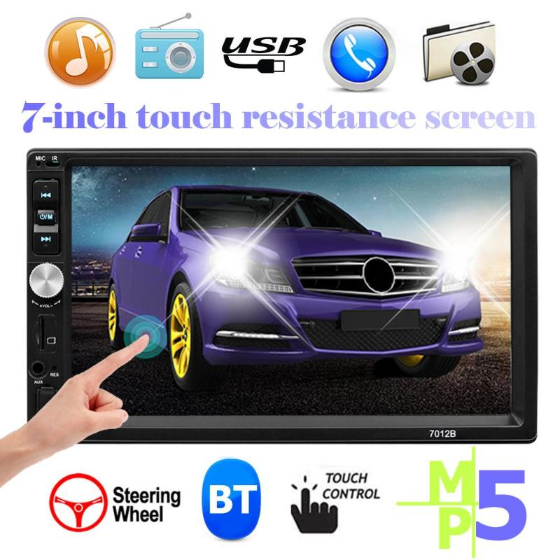 7 inch 2 DIN Car Stereo MP5 Player Bluetooth Touch Screen Media Player Support Steering Wheel Control AUX USB FM Radio Head Unit