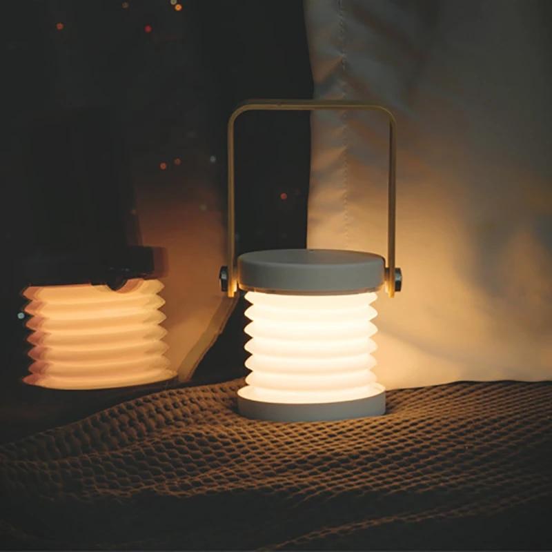 Wooden Handle Hand Lantern Lamp Telescopic Folding Led Lamp VV