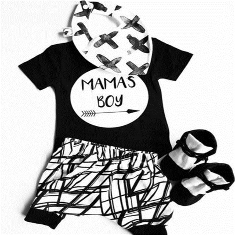 0-24 Months Baby Boys Clothes Set Black Letter Print Tshirt For Boys White Striped Pants Leggings Baby Boys Clothing Newborn Set 5