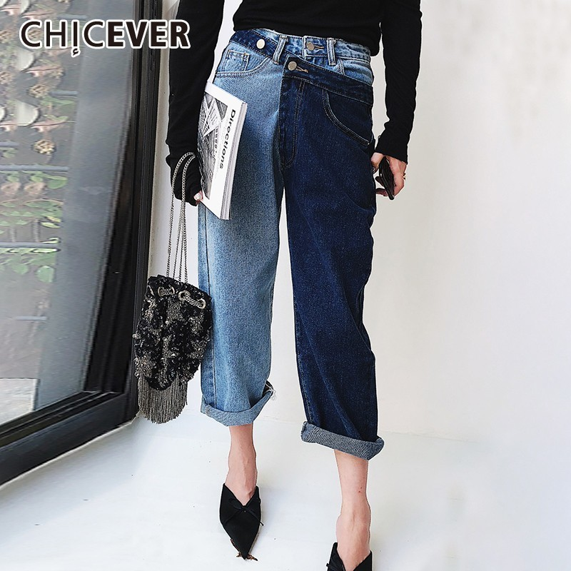 CHICEVER Patchwork Hit Color Jeans For Women High Waist Irregular Large Size Summer Denim Long Trousers  Fashion Clothing 2019
