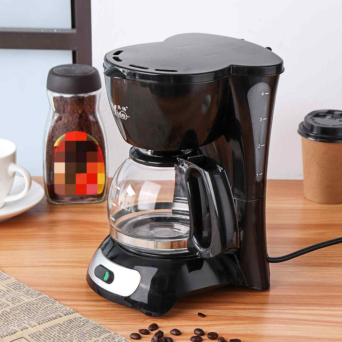 650W 220V Electric Coffee Maker Automatic Insulation Pot Small Drip Commercial American Coffee Machine Kitchen 4-6 People 4-Cups