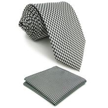 Mens Neckties Houndstooth Pocket Square Set Business Accessory Fashion Gift Extra long size Classic