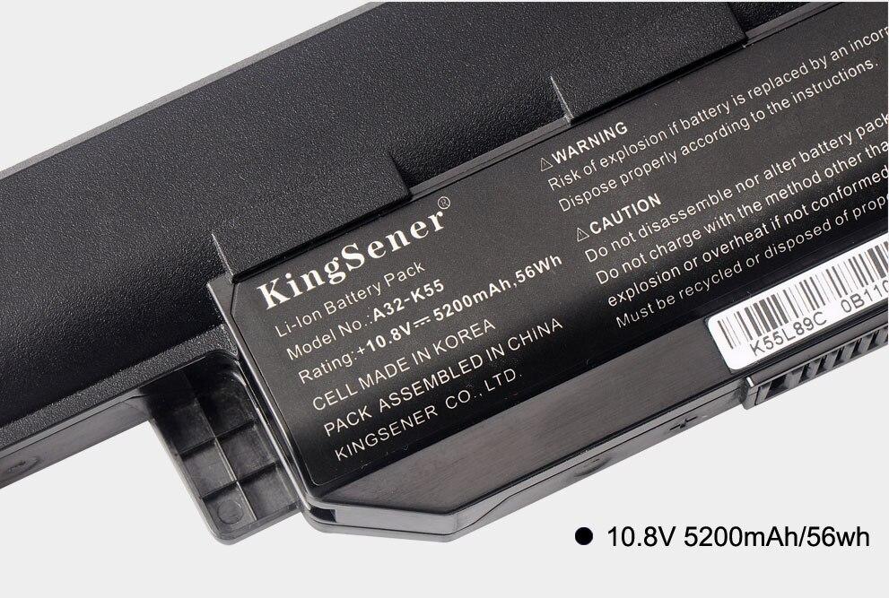 KingSener A32-K55 аккумуляторы үшін ASUS K55 K55V - Ноутбуктердің аксессуарлары - фото 4
