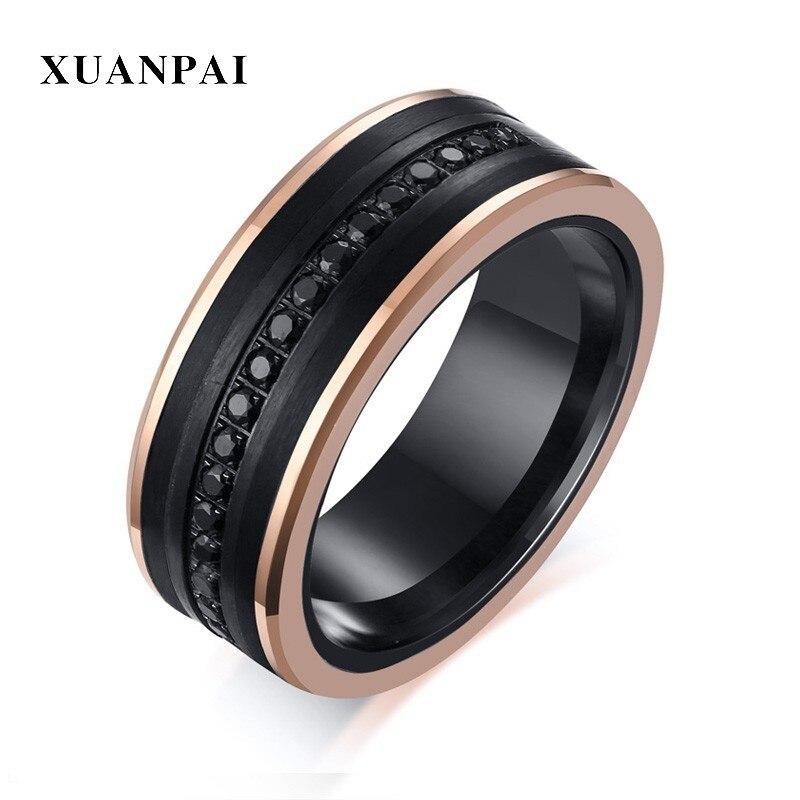 Zircon cubique noir CZ incrustation de pierre bord en or Rose carbure de tungstène noir hommes anneaux cadeaux masculins de luxe largeur 8mm