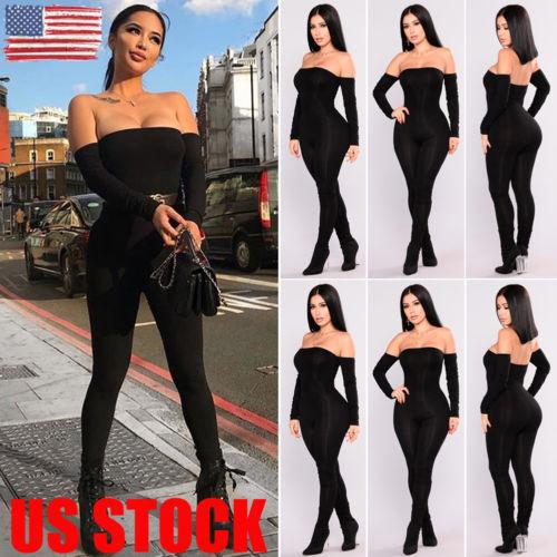 Autumn Women Off Shoulder Clubwear Playsuit Bodycon Jumpsuit Romper Long Trouser New
