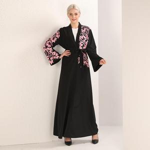Image 3 - 우아한 이슬람 인쇄 abaya 맥시 드레스 카디건 스윙 긴 가운 가운 벨트 튜닉 중동 라마단 두바이 아랍 이슬람기도