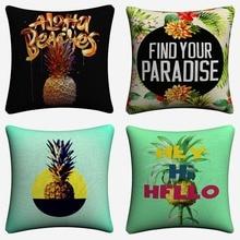 Fashion Pineapple Summer Fruit Art Decorative Cotton Linen Cushion Cover 45x45cm Throw Pillow Case For Sofa Home Decor Almofada цены