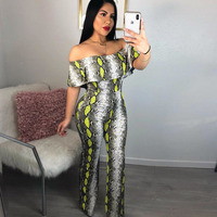 snake print rompers womens jumpsuit sexy bodysuit off shoulder tops backless ruffle mono mujer pants jumpsuits body femme suit