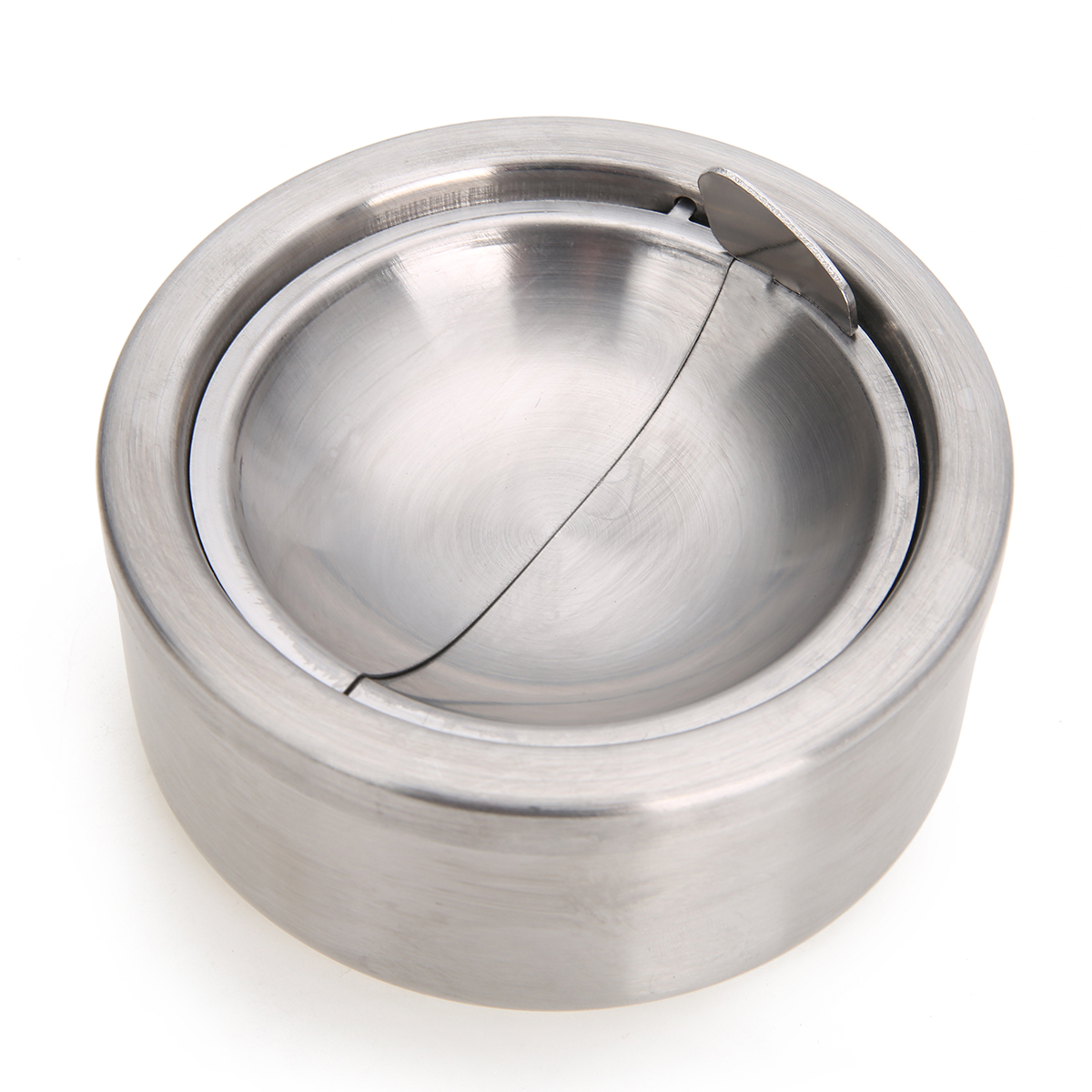 1pc Cigarette Lidded Ashtray Stainless Steel Silver Windproof Ashtray with Lid Round Shape Smoking Ash Tray Under-cabinet lighting