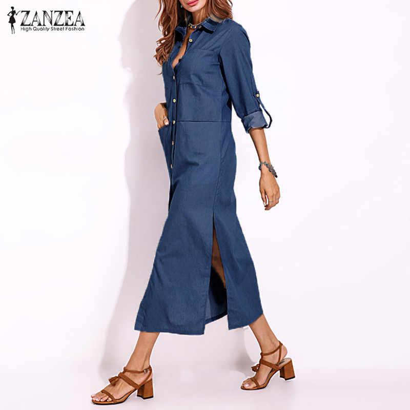 Плюс размер джинсовое платье ZANZEA женский сарафан платья 2019 Весна Кнопка макси Vestidos женские Сплит джинсы элегантное женское платье
