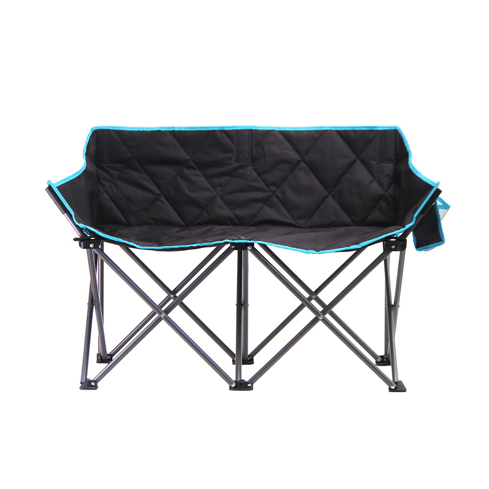 OEM 500pcs Custom Double Folding Beach Chair Double Armchair Folding Chair Backrest Love Seat