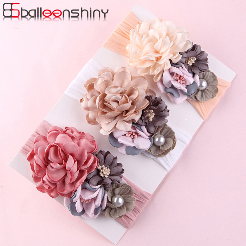 BalleenShiny Flower Princess Headband Baby Girls Super Soft Cute Pearl Turban Headwear Child Kids Fashion Hair Accessories Gift