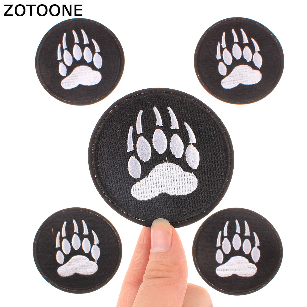 ZOTOONE Bear Footprints Patches Iron On Clothes For Kids Appliques DIY Stripes Embroidered Stickers Backpack Badge Decoration