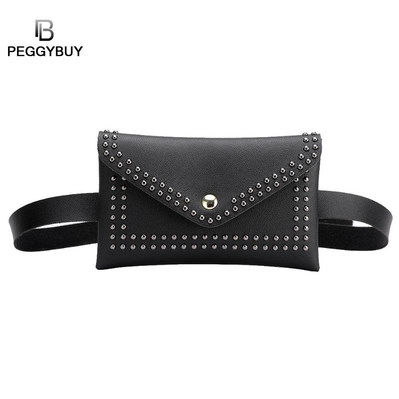 Fashion Women Belt Bags Solid Color Rivet Shoulder Waist Bags Women PU Leather Fanny Packs Phone Pouch Punk Belt Bag Purse