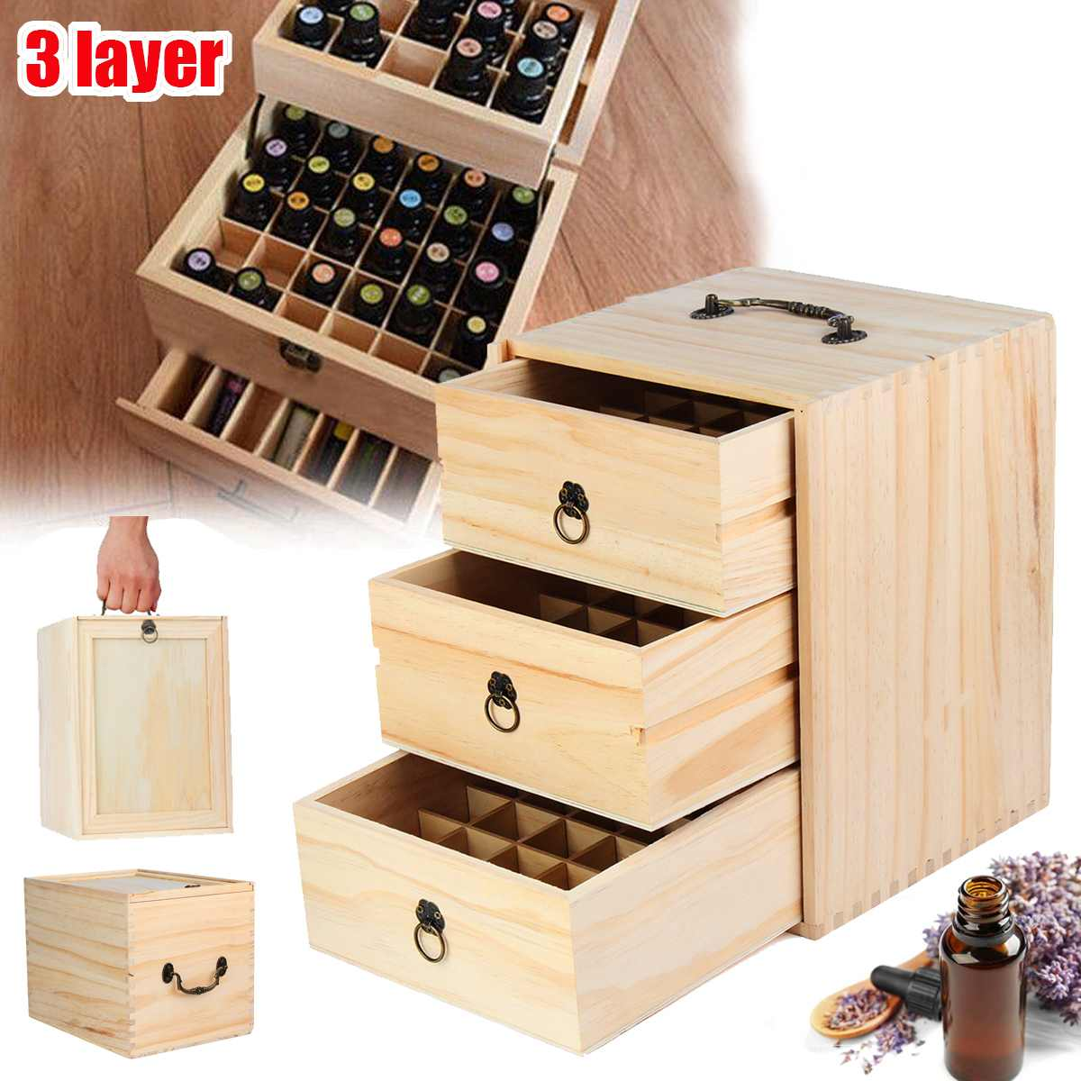 3 Tiers 75 Slots Essential Oil Wooden Box Carry Organizer Wood Storage Case With Handle Saver Large Aromatherapy Oil Storage Box3 Tiers 75 Slots Essential Oil Wooden Box Carry Organizer Wood Storage Case With Handle Saver Large Aromatherapy Oil Storage Box