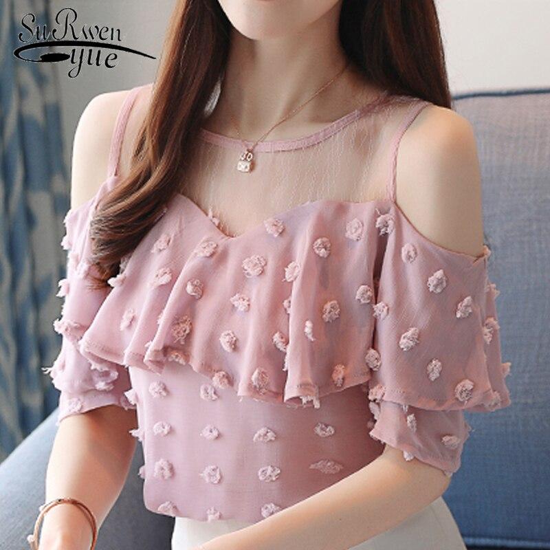 New 2019 Summer Fashion Solid Women Blouses Shirts O-Collar Lace Off Shoulder Wavy Ruffled Sleeve Chiffon Shirt Slim Top 0642 40