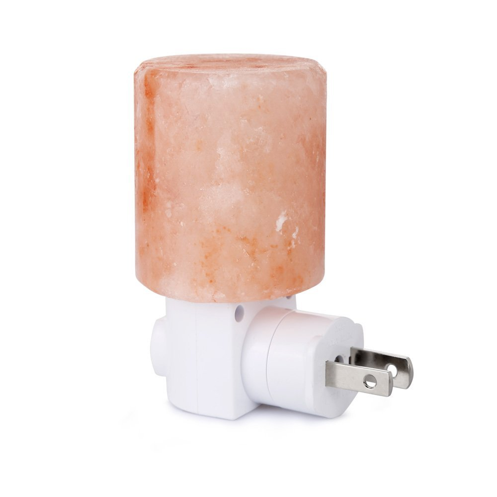 Mini Hand Carved Natural Crystal Himalayan Salt Lamp Night Light (cylinder-shaped) Light Bulb Wall Lamp