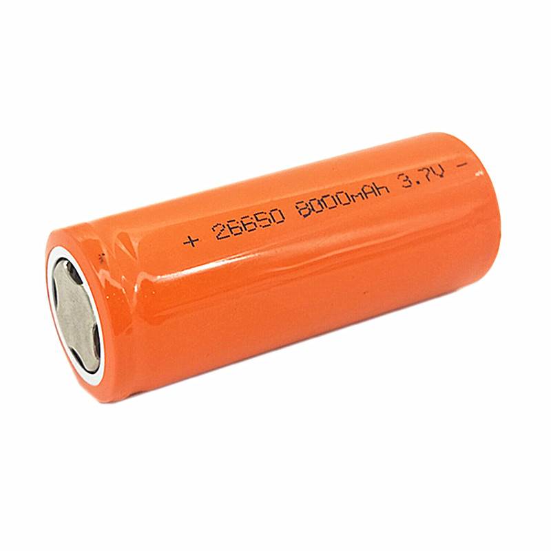 OOLAPR Orange 1PCS 26650 lithium battery 3.7V 8000mAh 26650 rechargeable battery 26650 BATTERY suitable for flashlight image