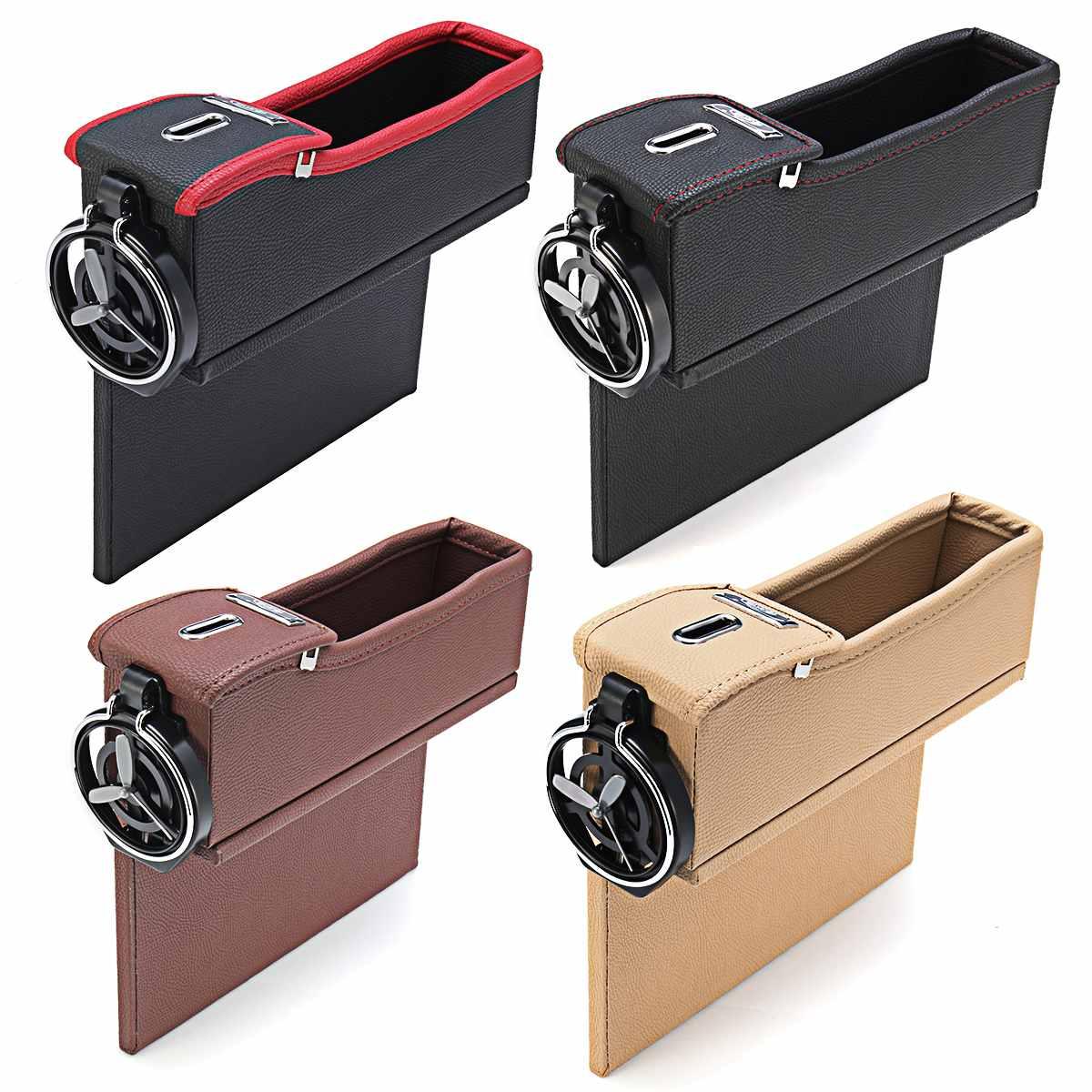 Siège auto cuir Crevice sac de rangement boite a fric Pot porte-boisson siege auto organiseur de poche boite de rangement interieur voiture cale téléphone