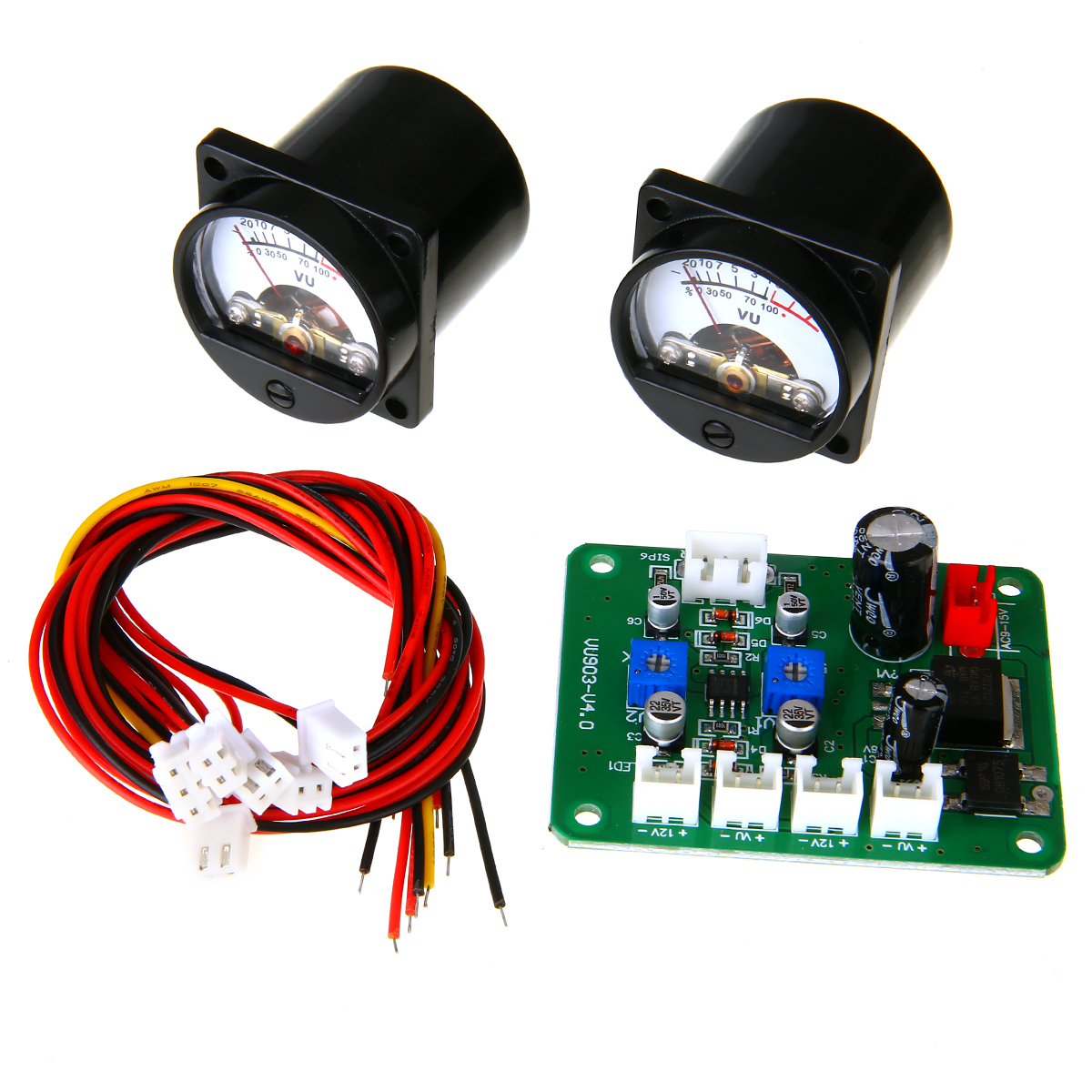 New 2pcs 10-12V VU Panel Meter 500UA Warm Back Light Recording + Driver Module High Quality
