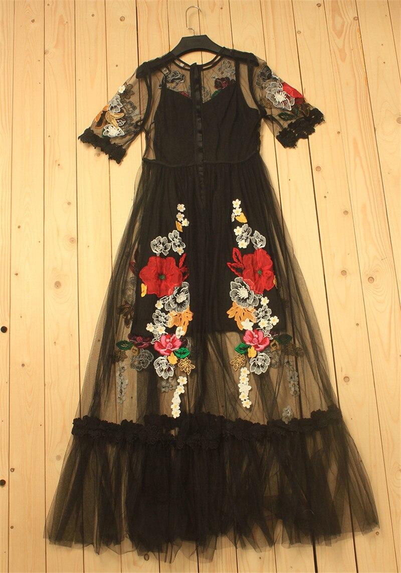 2019 printemps fleur de luxe Appliques femmes noir grande balançoire robe femmes piste voir à travers maille femme fête Maxi robes vêtements - 5