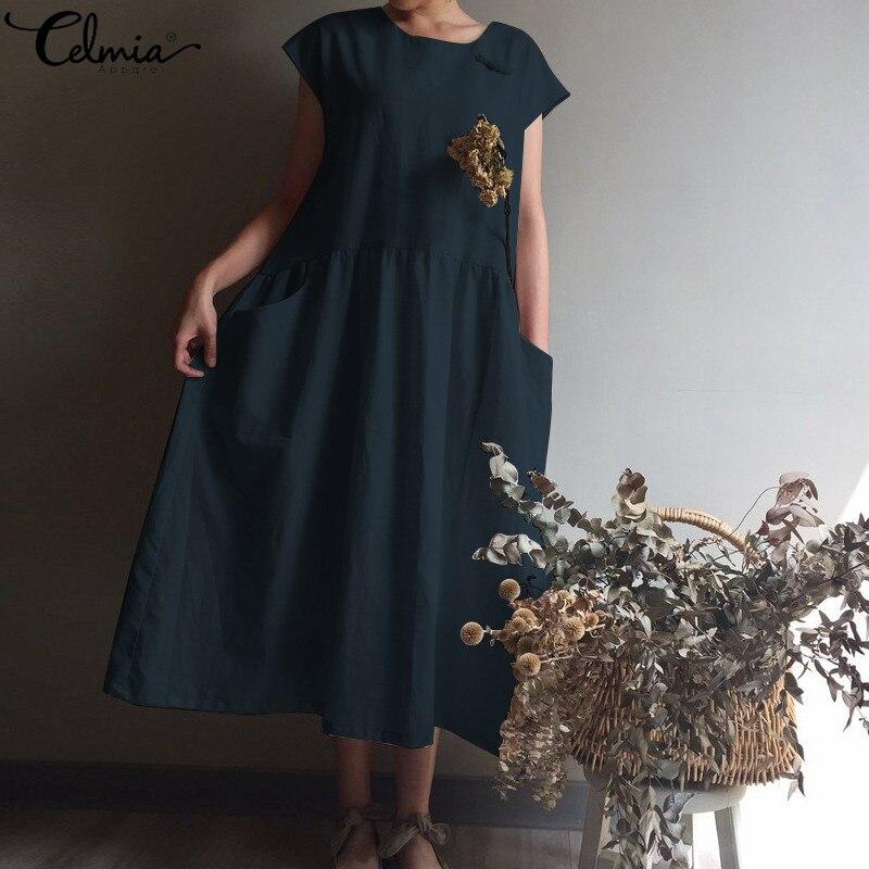 Женское винтажное льняное платье, летняя повседневная плиссированная рубашка с коротким рукавом, пляжное платье большого размера для вечеринок и вечеринок Платья      АлиЭкспресс