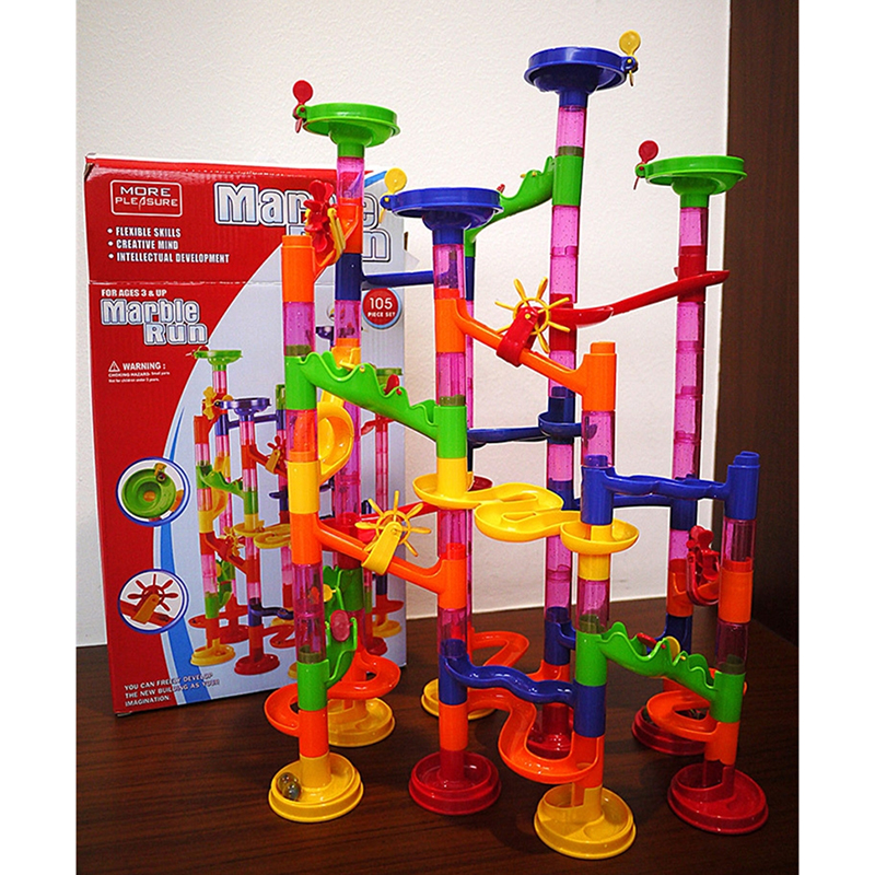 DIY Construction Marble Race Run Maze Balls Track Building Blocks Children Gift For Baby Educational Toys-in Puzzles from Toys & Hobbies