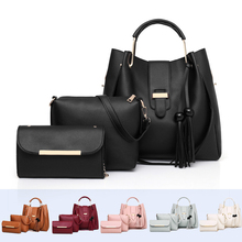 3pcs Women Handbag Set 2019 Leather Shoulder Crossbody Bags For Metal Handle Tassel Tote Bucket Bag Candy Color Clutch