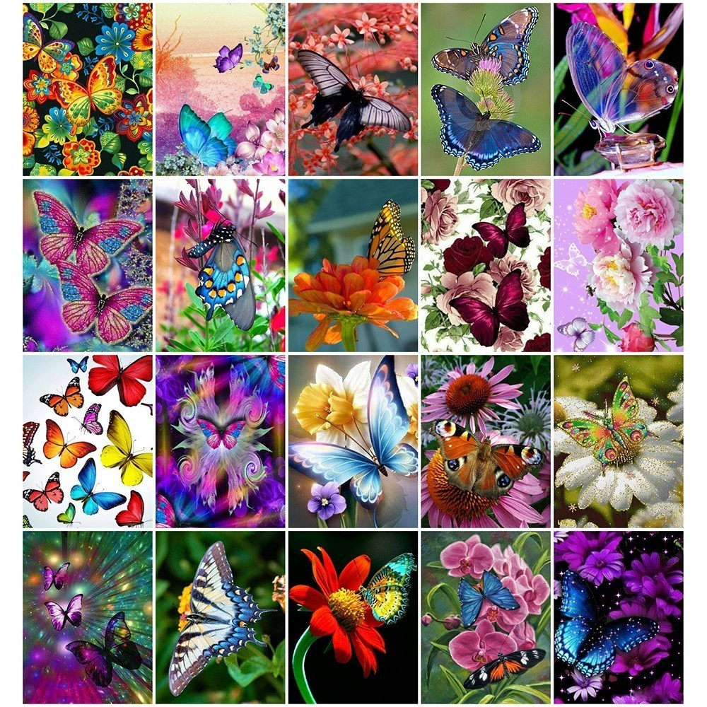 """Full Square Diamond 5D DIY Diamond Painting /""""Butterfly and Flower/"""" Embroider 5R8"""